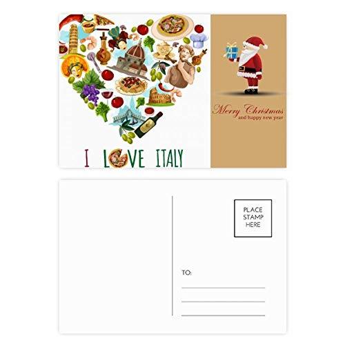 Herz Turm Pisa Rom Kolosseum Spaghetti Santa Claus Postkarten-Set Dankeskarten, 20 Stück