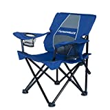 STRONGBACK Prodigy - Kids Folding Heavy Duty Camping Chair with Lumbar Supportive Ergonomics and Portable Carry Bag, Navy Blue, Small