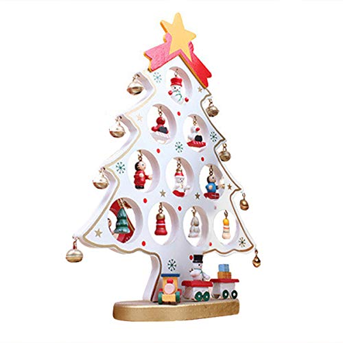 Vosarea DIY Cartoon Wooden Christmas Tree Decoration Ornament Table Desk Decoration (White)