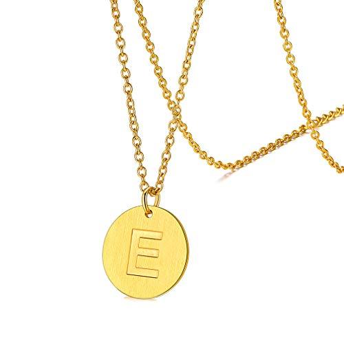 FaithHeart vergoldet Buchstabenkette Damen Rundeanhänger 46cm+5cm Rolokette mit Schmuckbox für Weihnachten Geburtstag