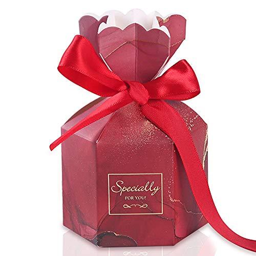 Gwolf Boda de caja de dulces, caja de regalo de 50 piezas, regalo de invitado, caja de chocolate, caja de regalo de joyería pequeña, cajas de dulces de boda para boda bautizo fiesta cumpleaños