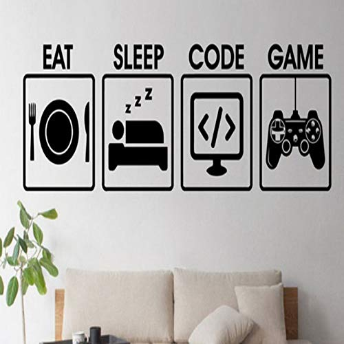 shiyueNB Voeten u slaapcode spel eten u en slaap overdraagbare muursticker van de on-line Spiellogos DW1869 42 * 144CM