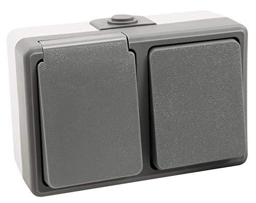 MC POWER - Aufputz Feuchtraum-Kombidose | SECURE | Schalter und Steckdose, horizontal, grau, IP44