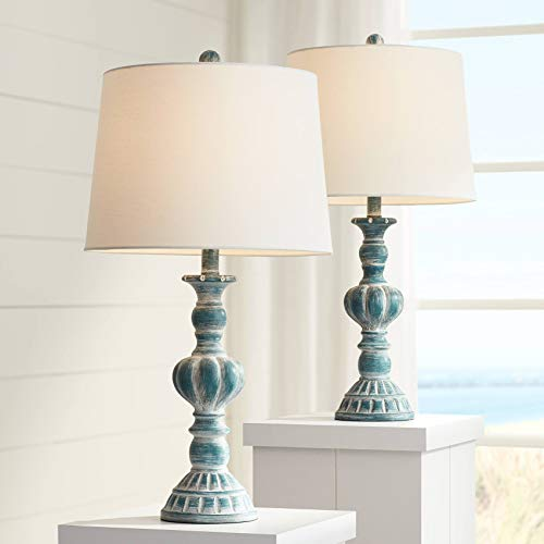 Tanya Coastal Traditional Vintage Style Table Lamps Set of 2 Blue Washed White Tapered Drum Shade Decor for Living Room Bedroom Beach House Bedside Nightstand Home Office Family - Regency Hill