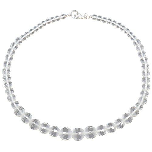 Yvesse Damen-Collier Halskette Sterling-Silber 925 rhodiniert Bergkristall Fantasy-Schliff
