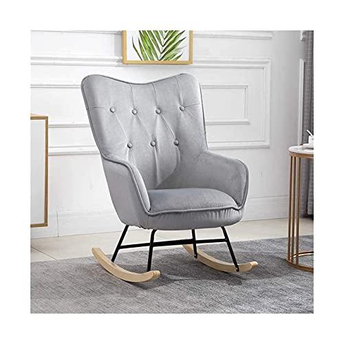WSDSX Möbel Relax Schaukelstuhl, gepolsterter Kamin Schaukelstuhl für Wohnzimmer Schlafzimmer Büro, Lounge High Back Freizeitstuhl, Oyster Wing Back Nursing Stuhl,