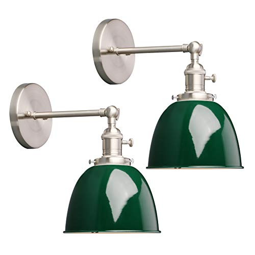 Phansthy 2 Stücke Deckenhalbkreis mit Metall-Schirm Wandbeleuchtung Wandleuchten Vintage Industrie Loft-Wandlampen Antik Deko Design Wandbeleuchtung Küchenwandleuchte(Dunkelgrün)