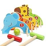 Daxoon 1 Set Kids Croquet de Dibujos Animados de Madera Juego de Golf Juguete Deportes al Aire Libre Pelota Juegos Familiares Juguetes educativos para niños