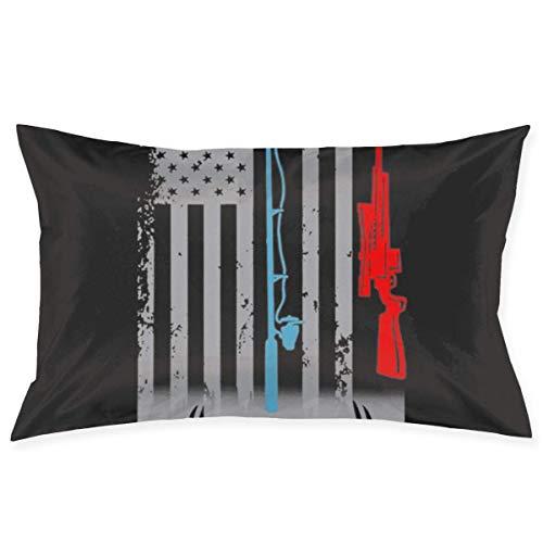 WH-CLA Throw Pillow Covers Caña De Pescar Caza Rifle Bandera Americana Funda De Almohada Funda De Cojín Funda De Almohada Rectángulo 40X60Cm Sofá De Cumpleaños Acogedor Anime Año Nuevo S