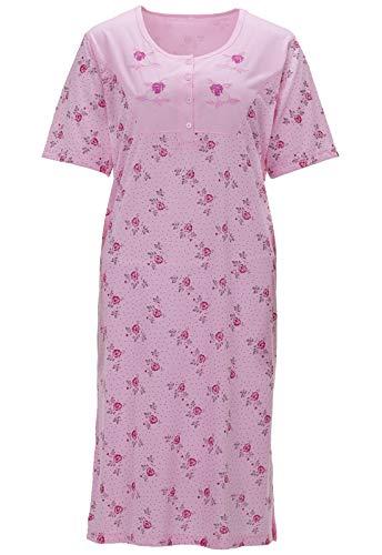 LUCKY Damen Nachthemd Kurzarm Rosen Stickerei Punkte, Farbe:rosa, Größe:M