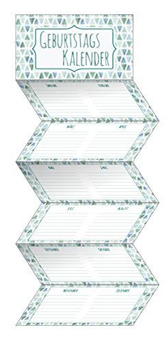 Geburtstags-Leporello petrol: Immerwährender Wandkalender. Format 18 x 70 cm.