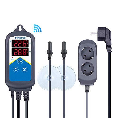 Inkbird ITC-306A Thermostaat Wifi met 2 Relais, Thermostaat met Dubbele Sonde, Verwarming voor Aquarium, Slaapkamer, Cultuur, Dierenhefinstallatie