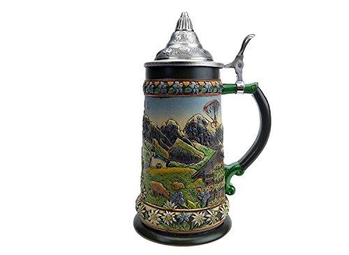 Essence of Europe Geschenke Tirol österreichischen Alpen Bier Stein mit Deckel
