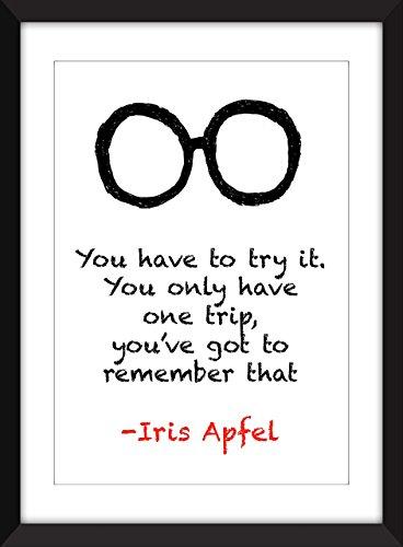 """Iris Apfel\""""Sie haben nur eine Reise\"""" Druck Typografie Kunstwerk, inspirierende Zitate"""