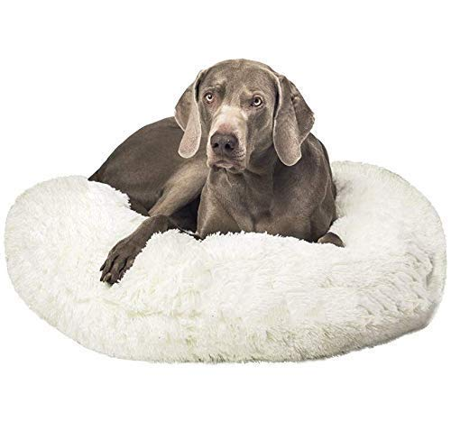 Cama para perros extra grande, redonda, con forma de donut, calmante para mascotas, con cubierta extraíble, cama suave para perros medianos y extragrandes, 120 cm de diámetro, QIANGQIANG