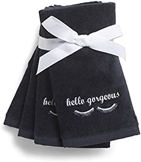 Cynthia Rowley 4 Hello Gorgeous Black Towels 12 X 17 Face Cloths Soft Absorbent White Embroidered Letters Makeup Towels