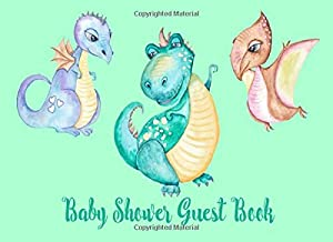 Baby Shower Guest Book: Dinosaur Welcome Baby Dino Dance Sign in memory book keepsake, advice for parents & Gift Log (boy, girl, twins, gender neutral) (Jungle)