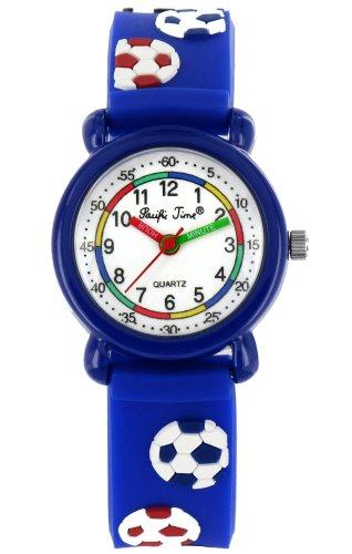 Pacific Time Kinder-Armbanduhr Fußball Analog Quarz blau 20273
