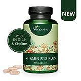 Vitamina B12 PLUS Vegavero | La Única con las 2 Formas Activas + Ácido Fólico + B6 (Piridoxina) + Colina | VEGANA Y SIN ADITIVOS | Fatiga + Vitaminas Para el Cansancio + Anemia | 180 Cápsulas