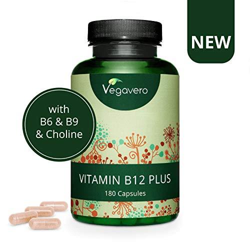 VEGAVERO Vitamin B12 PLUS 1000µg   B12 Kapseln mit Cholin, Folsäure & B6   OHNE ZUSATZSTOFFE   Beide aktiven Formen Methylcobalamin & Adenosylcobalamin   Laborgeprüft   180 Kapseln (6 Monate)