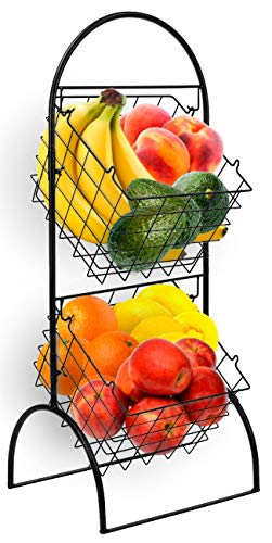 Sorbus 3-Tier Wire Market Basket Storage Stand for Fruit, Vegetables, Toiletries, Household Items, Stylish Tiered Serving Stand Baskets for Kitchen, Bathroom Organization (2 Tier)