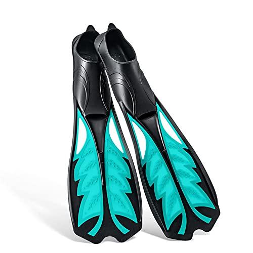 QZH Aletas de Buceo, Adultos Equipo de Snorkel Aletas largas Profesionales Aleta de Hoja Deporte acuático para Hombres Mujeres Natación Buceo y Snorkel,A,M