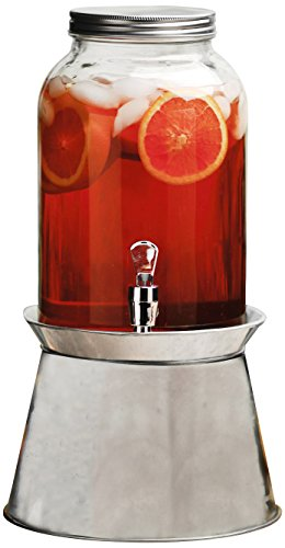 Circleware Americana Sun Glass Beverage Dispenser with Galvanized Base Metal Stand Fun Party Home Entertainment Glassware Pitcher for Water, Juice, Beer, Punch, Iced Tea, 1 Gallon, Clear
