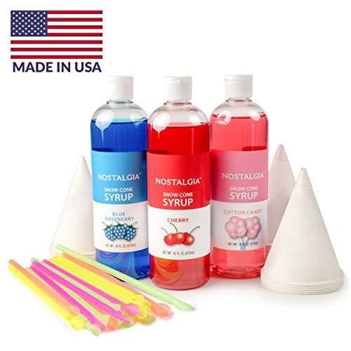 Nostalgia SCK3 Premium Syrup Party Kit Snow Cones 20 Spoons/Straws Blue Raspberry Cherry Cotton Candy Multi
