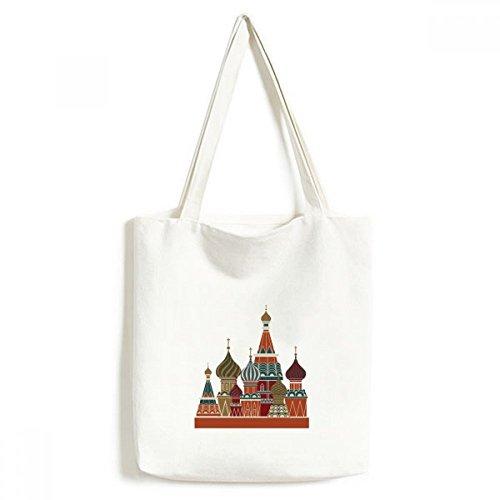 Russland St Wassili Kathedrale Building rot quadratisch Modisches Design Leinwand Tasche Umweltfreundlich Tote groß Geschenk Kapazität Einkaufstaschen