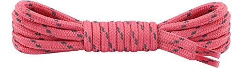 Ladeheid Qualitäts-Schnürsenkel LAKO1003, Elastische Rundsenkel für Arbeitsschuhe und Trekkingschuhe aus 100% Polyester, ø ca. 5 mm Breit, 25 Farben, 60-220 cm Länge (Pink/Dunkelgrau, 100 cm/ø 5 mm)