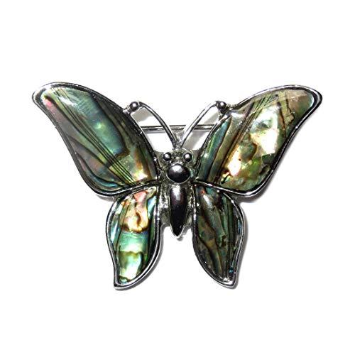 Mariposa Broche de concha nácar controlados de granja de piedra decorativa - Sin níquel-