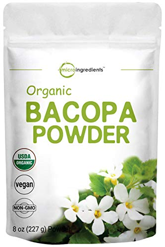 Organic Bacopa Monnieri Powder, 8 Ounce, Pure Bacopa Supplement, Ayurvedic Herb to Enhance Cognitive and Brain Health, Non-GMO and Vegan Friendly