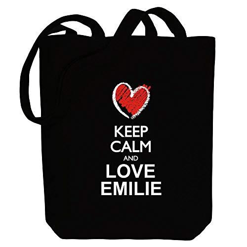Idakoos Keep calm and love Emilie chalk style Bolsa de Lona 10.5' x 16' x 4'