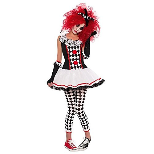 amscan- Teen Cherry Harlequin Costume-Age 10-12 Years-1 Pc Disfraz de arlequín de cereza para adolescentes de 10 a 12 años, 1 pieza, Multicolor, Small (997502)