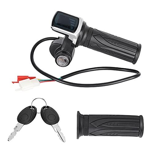 SPYMINNPOO Mango de Acelerador de Bicicleta eléctrica, medidor Digital LED de 60 V, Manillar de empuñadura de Acelerador de Scooter eléctrico con Interruptor de Encendido