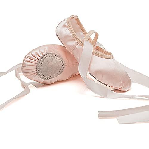 AGYE Zapatillas de Ballet Zapatillas de Ballet con Cintas para Niña Zapatillas de Baile Profesional con Cinta Cosida para Niños Mujer,Pink-22