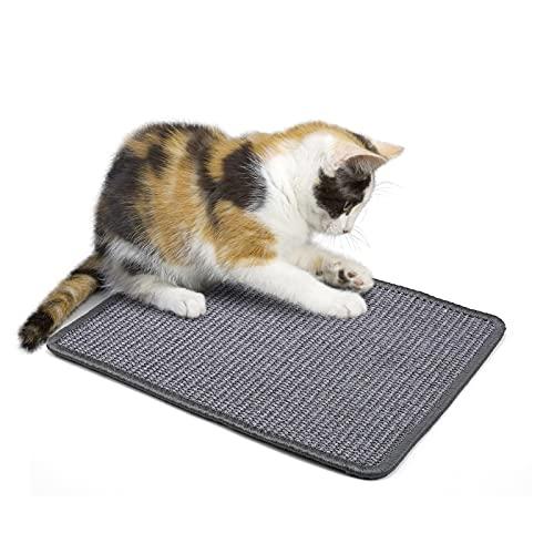 PETTOM Kratzmatte Katze, Kratzteppich Sisal, Kratzbretter Boden rutschfest, Natürlicher Sisalteppich für Katzen (30×40cm, Dunkelgrau)