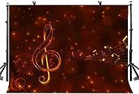 HD 7x5ft音楽テーマの背景茶色の背景ミュージカルシンボル写真の背景写真の背景カスタマイズされたスタジオの写真の背景の背景スタジオの小道具LYLX525