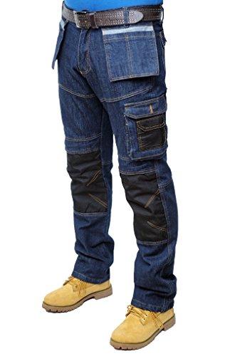 Prime Pantaloni da Lavoro da Uomo Pantaloni da Lavoro Cargo da Combattimento Multi Tasche BLJ-02 (BLACK-DENIM-004, 30W X 30L)