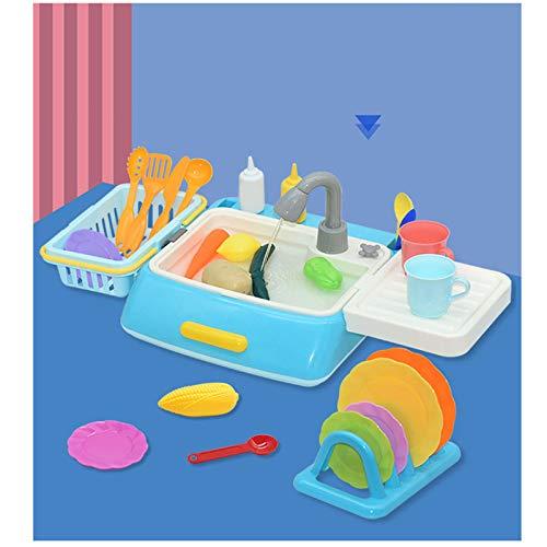 Niños Cocina Fregadero Juguete,Mini Accesorio Plástico,Sin Olor Sin Rebabas Duradero Fácil Montar,Desarrollar Niño Creatividad Capacidad Pensamiento Flexibilidad,Azul