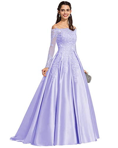 Miao Duo Women's Long Sleeves Lace Off The Shoulder Brdesmaid Dress Satin Formal Wedding Party Gowns with Train Lavender 16