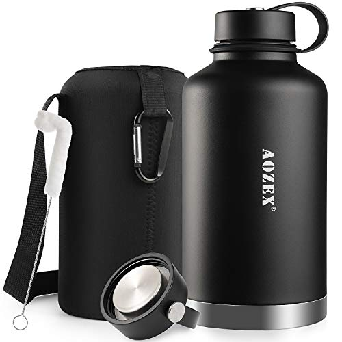 64 oz Stainless Steel Water Bottle, AOZEX Double Wall Half Gallon Vacuum Insulated Water Bottle, Wide Mouth Large Water Bottle with 2 BPA Free Leakproof Lids - Keep Cold for 24 Hrs Hot for 12 Hrs