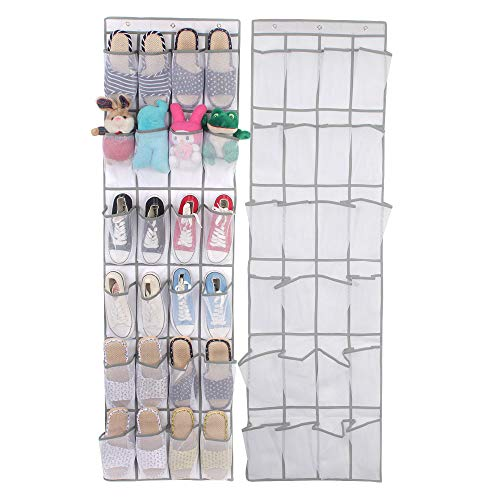 """The Door Hanging Shoes Organizer with 24 Clear Mesh Pockets and 4 Metal Hooks 19"""" W x 64"""" H (White)"""