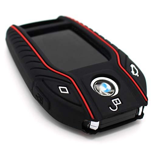 Schlüssel Hülle BF für 3 Tasten Auto Schlüssel Silikon Cover von Finest-Folia (Schwarz Rot)