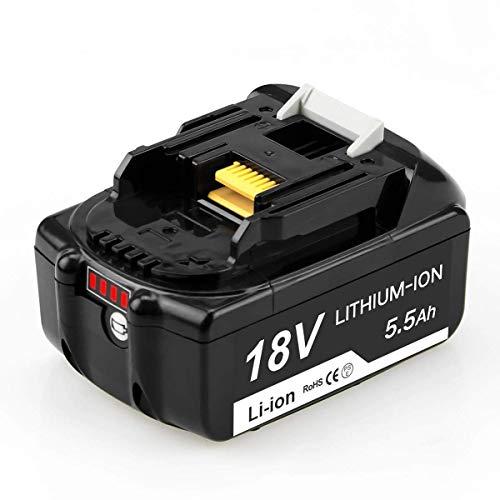 Reoben 18V 5.5Ah BL1860B Lithium Akku Ersatzakku für Makita BL1860 BL1850 BL1840 BL1830 BL1815 194205-3 194309-1 LXT400 194204-5 Werkzeugakku mit LED-Anzeigen