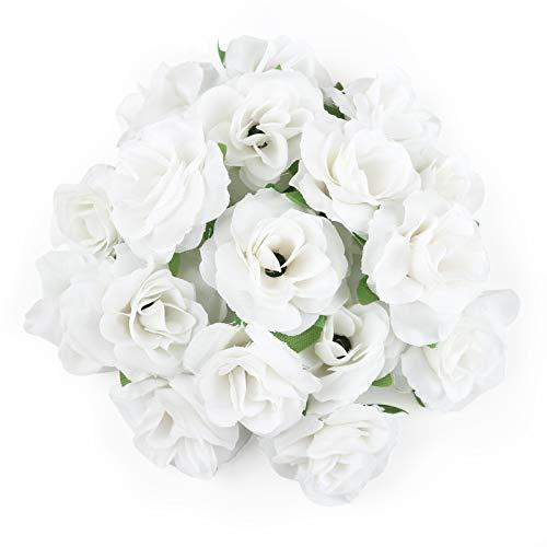 Kesote 50x Künstliche Blumenköpfe Blütenköpfe Kunst Blumen Rosen Köpfe für Hochzeit Party Deko DIY (Ø 4cm, Weiß)
