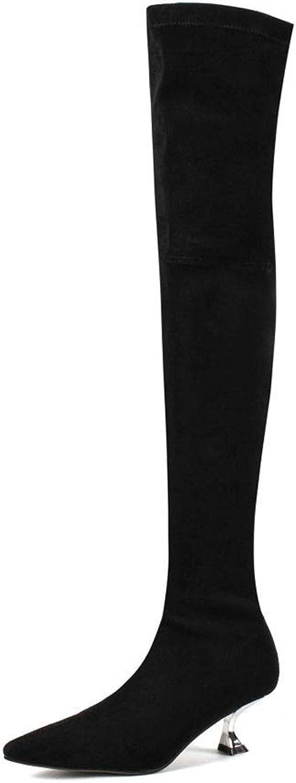 WHL.LL Frauen Wies über Die Kniestiefel Rutschfest Weinglas Mit Kniestiefel Mode Slim Fit Ofenrohrstiefel (Absatzhhe  5Cm)