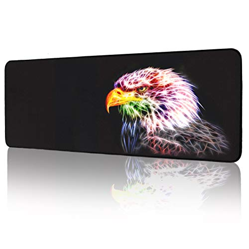 Gaming Mouse Pad, Anime Eagle Large Mouse Pad - Computer Keyboard Extended Mouse Mat Mousepad Stitched Edges for Game Players 31.5x12inch (Eagle Mouse pad)