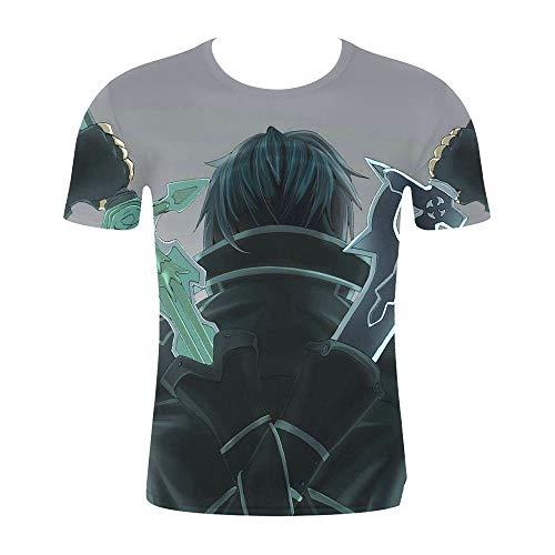 Anime Sword Art Online 3D Impreso Hombres y Mujeres Camiseta Pareja Joven de Manga Corta Camiseta Sudadera S