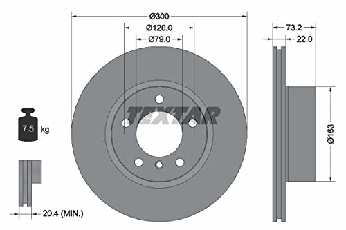 Preisvergleich Produktbild TEXTAR 92238505 Bremsscheibe Scheibenbremsen,  Bremsscheiben (x2)